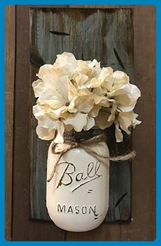 Wall SCONCE Mason Canning Glass Ball JAR with Flower (optional) - Reclaimed Country Rustic Decor - RIVER ROCK Blue Gray Grey *Hand Painted & Distressed Jar with twine is available in a many colors! - Venue and reception decor (*Amazon Partner-Link)