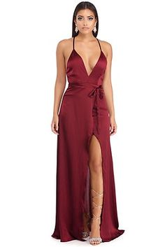 Sanae Burgundy Satin Evening Dress