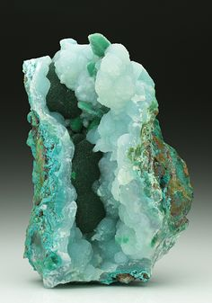 Minerals, Crystals & Fossils — Chrysocolla with Malachite and Chalcedony - Gila. Minerals And Gemstones, Rocks And Minerals, Raw Gemstones, Beautiful Rocks, Mineral Stone, Rocks And Gems, Stones And Crystals, Gem Stones, Story Stones