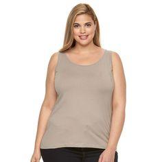 Plus Size Apt. 9® Everyday Scoopneck Tank, Women's, Size: 3XL, Med Beige