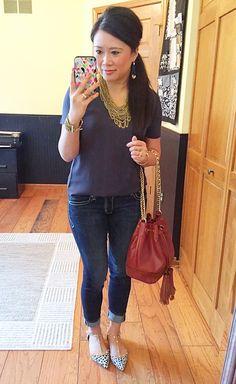 Purple Peridot bib necklace, LOFT fluid tee, Express jeans, Halogen flats, Rebecca Minkoff bucket bag #nsale