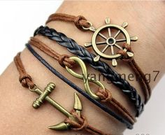 Retro anchor rudder romantic password three strands braided multi-layer bracelet [k17-2] - $7.19 : Fashion jewelry promotion store,Supply all kinds of cheap fashion jewelry