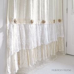When decorating our homes or buying a special gift for someone, this beautiful soft cream chenille shower curtain is sure to please. Made with many layers of lace, tulle, and crochet ruffles, along wi