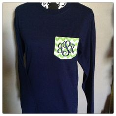 Monogrammed pocket Tshirt by SouthernCharmCo on Etsy, $28.00