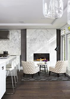 Modern fireplace wall tile stacked stone fireplace surround bower power home decor stores canada Fireplace Seating, Stacked Stone Fireplaces, Marble Fireplace Surround, Home, Interior, Marble Fireplaces, Fireplace Surrounds, Modern Kitchen Design, Home Decor