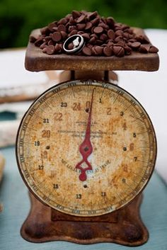 old scale with chocolate chips --cute prop idea