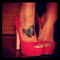 Tiny butterfly tattoo and cute shoes ^__^