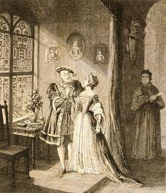 """Henry's Reconciliation with Anne Boleyn"" etching c.1842 by George Cruickshank."