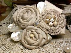 Textile jewelry. Fabric Flower Brooch. Flower by Flowershouse