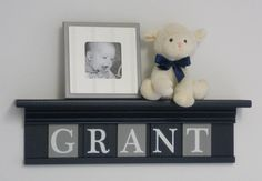 Baby Boy Nursery Name Sign – Personalized with Child's Name on Shelf in Gray and Navy Blue – babynamen Baby Boy Nursery Decor, Nursery Name, Baby Boy Nurseries, Nursery Ideas, Themed Nursery, Grey And Navy Nursery, Navy Blue Walls, Childrens Shelves, Nursery Shelves