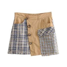 Stylish Plaid Patchwork Tweed Mini Skirt Women A Line Pockets Tassel Ladies Skirts Casual Mujer Heydress Size XS Color MU Jean Skirt, Denim Skirt, Light Blue Skirts, Tweed Mini Skirt, Casual Skirts, Vintage Patterns, Mini Skirts, Plaid, Stylish