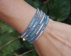 Piccolo blu mix avvolgere Boho bracciale, bohemien bracciale, braccialetto, bracciale di perline