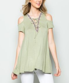 Take a look at this CY Fashion Sage Jacquard-Trim Cold-Shoulder Top today!