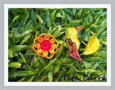 Tita Carré  Agulha e Tricot : Motivo Crochet Circle Flor Laranja com gráfico e r...