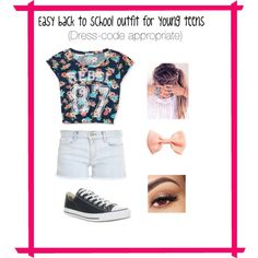 Back to school outfits for teens and girls. This outfit can be easily customized to your wardrobe. Follow @fashionistalynn on Polyvore for more outfits and beauty kits ecspecially for middle schoolers.