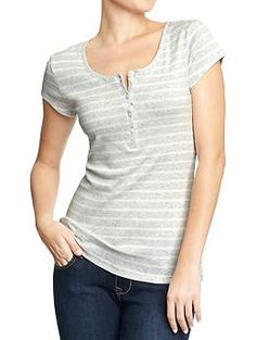 Womens Perfect Henleys - grey stripe and black, maybe white