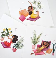 Cute girls mini fine art prints, gouache painting art print, girly, cute, Moroccan style. colorful by FantomFifiArt on Etsy