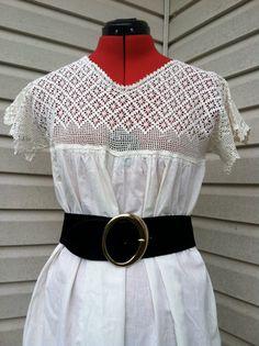 1930's vintage handmade muslin crochet yoke full white gown