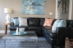 sunroom // black leather couches decorating ideas | ... Decorating Ideas With… #coastallivingroomsbrowncouch