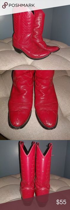 Red Leather Cowboy Boots 1.5' heel Upper Leather with red stitching Scruffs as shown Shoes Heeled Boots