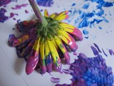 Flower painting. Why use a brush? Find as many different things to paint with as you can!