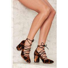 Crosswalk Spot Me Leopard Velvet Heel (1 350 SEK) ❤ liked on Polyvore featuring shoes, animals, black velvet shoes, lace up high heel shoes, lace up shoes, leopard shoes and black lace up shoes