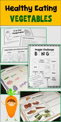 Eat a rainbow, mini-book, write the room activities, picture cards, and more to go with your food groups and MyPlate lesson plans. Plus everything you need to hold a vegetable challenge in your classroom!