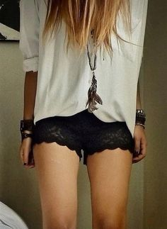 Shorts: lace black black lace white shirt baggy shirt grunge fashion vintage t-shirt jewels
