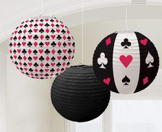 Casino Party/Card Night Hanging Paper Lantern Decorations X 3