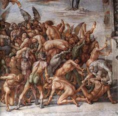 Luca signorelli, cappella di san brizio, dannati all'inferno 04 - Cappella di San Brizio - dettaglio