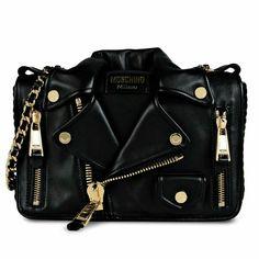 Moschino black leather jacket bag.
