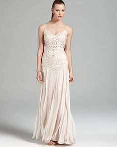 Sue Wong Gown - V-Neck Spaghetti Strap | Bloomingdale's 608 Champagne