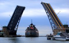 Charles Berry Bridge in Lorain, Ohio located along U. Route is the second-largest bascule bridge in the world Amherst Ohio, Lorain Ohio, Great Lakes Ships, The Buckeye State, Bridgetown, Lake Erie, Countries Of The World, New Hampshire, Cleveland
