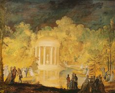 A beautiful painting by Nikklas Lafrensen le Jeune of the fête given by Marie Antoinette at the Petit Trianon on Monday, 21st June 1784 in honour of Gustave III, King of Sweden. Depicted are guests strolling around the illuminated Temple of Love. This painting was part of Gustave's private collection, kept as a souvenir of a happy time.