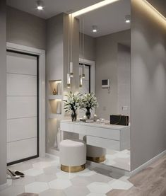 Hall de entrada clean, moderno e lindo. Interior Design Living Room, Living Room Designs, Modern Bedroom Decor, Design Interior, Flur Design, Dressing Room Design, Dressing Table, Dressing Area, Bedroom Closet Design