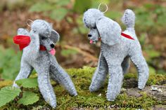 Blue Silver Poodle Hand-Sewn Felt Ornament by KathrynsCollection