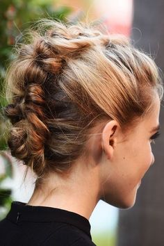 Kiernan Shipka's Genius Braid Hack Wins The Updo Game  #refinery29  http://www.refinery29.com/how-to-kiernan-shipka-braided-hair#slide-1  Step 1Before you get started, familiarize yourself with the back of this showstopper. If you look closely enough, you can see where the braid and knots join. Think of Shipka's ear as the center of a clock and go directly to 11 p.m.; it's where the top blond pieces and bottom brown sections meet. Understanding this will help you with placement later. ...