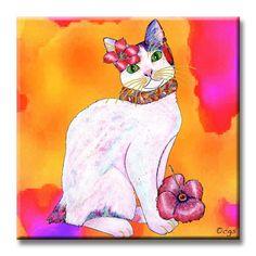 Monica tropicat decorative ceramic cat art tile by Claudia Sanchez