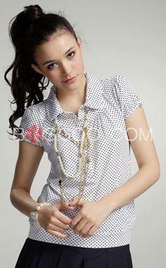 Pretty-Printing-Turndown-Collar-Womens-Tshirt-p10467