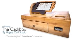 The Happy Owl Cashbox (made of Cali bamboo plywood) is a handmade point of sale register with a detachable iPad interface that slides from cashier to customer for signatures!