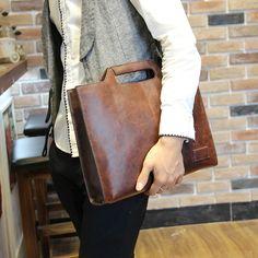 Crazy Horse leather shaped mobile man baodan shoulder bag Messenger bag men for youth and leisure business Briefcase design
