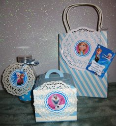 Fun doily decorated favors at a Frozen girl birthday party!  See more party ideas at CatchMyParty.com!