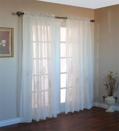 Elegant embroidered hydrangeas give these sheer panels texture and interest. Sheer Curtain Panels, Panel Curtains, Highland Homes, Sheer Fabrics, Window Treatments, Cottage, Indoor, Hydrangeas, Cream White