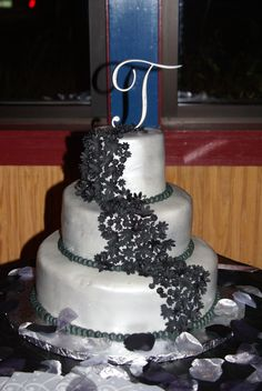 Black and Silver wedding cake -- love the colors & cake!