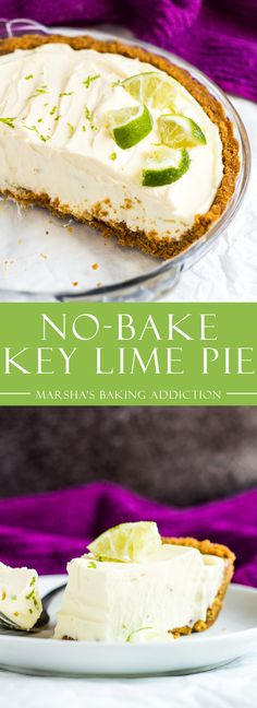 No-Bake Key Lime Pie - A deliciously creamy key lime pie recipe with a crunchy ginger crust is a match made in heaven. Top with fresh whipped cream and lime slices for the ultimate refreshing Summer dessert! Key Lime Desserts, No Bake Desserts, Dessert Recipes, Baking Desserts, Icebox Desserts, Lemon Desserts, Lime Recipes, Tart Recipes, Pastry Recipes