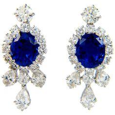 1STDIBS.COM Jewelry & Watches - HARRY WINSTON Sapphire Diamond Platinum Earrings - Euro Antique found on Polyvore