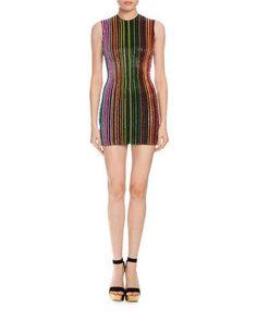 BALMAIN Beaded-Stripe Sleeveless Minidress. #balmain #cloth #