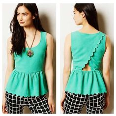 """Girly Girl HP Anthro """"Clovelly"""" Peplum Top In excellent used condition.  Got this here on poshmark but it sadly does not fit me quite right.  Waist measures 14in across, 16.5in from armpit to armpit.  Material has stretch. Anthropologie Tops Blouses"""