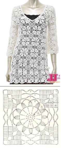 Crochet added a new photo. Gilet Crochet, Crochet Wool, Crochet Jacket, Crochet Cardigan, Thread Crochet, Crochet Applique Patterns Free, Crochet Motifs, Crochet Squares, Crochet Stitches