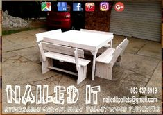 8 Seater table and bench set with a whitewash finish. Affordable pallet wood furniture designed by you, built by us. For more info, contact 0834376919 or naileditpallets@gmail.com #patiofurniture #patioideas #palletpatiofurniture #palletpatioset #palletpatioseating #palletpatiotables #palletfurniture #palletfurnituredurban #custompalletfurniture #nailedpalletfurnituredurban #naileditcustombuiltpalletfurniture #palletfurnituredurban